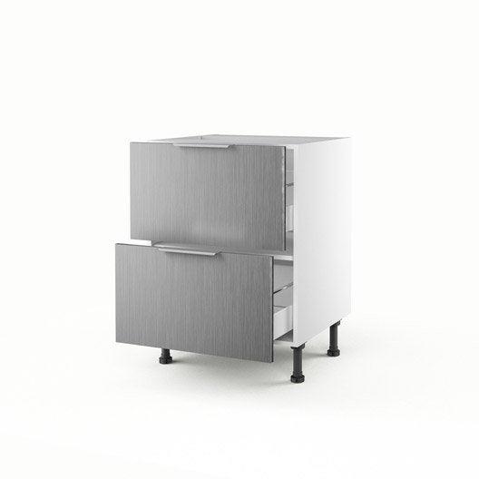 meuble de cuisine bas d cor aluminium 2 tiroirs stil h70xl60xp56 cm leroy merlin. Black Bedroom Furniture Sets. Home Design Ideas