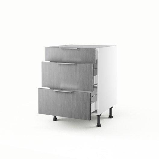 Meuble de cuisine bas d cor aluminium 3 tiroirs stil for Meuble aluminium cuisine