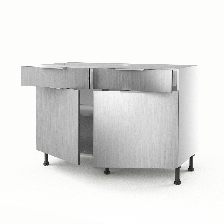 Meuble De Cuisine Bas D Cor Aluminium 2 Portes 2 Tiroirs Stil H  # Meuble Bas Tiroir