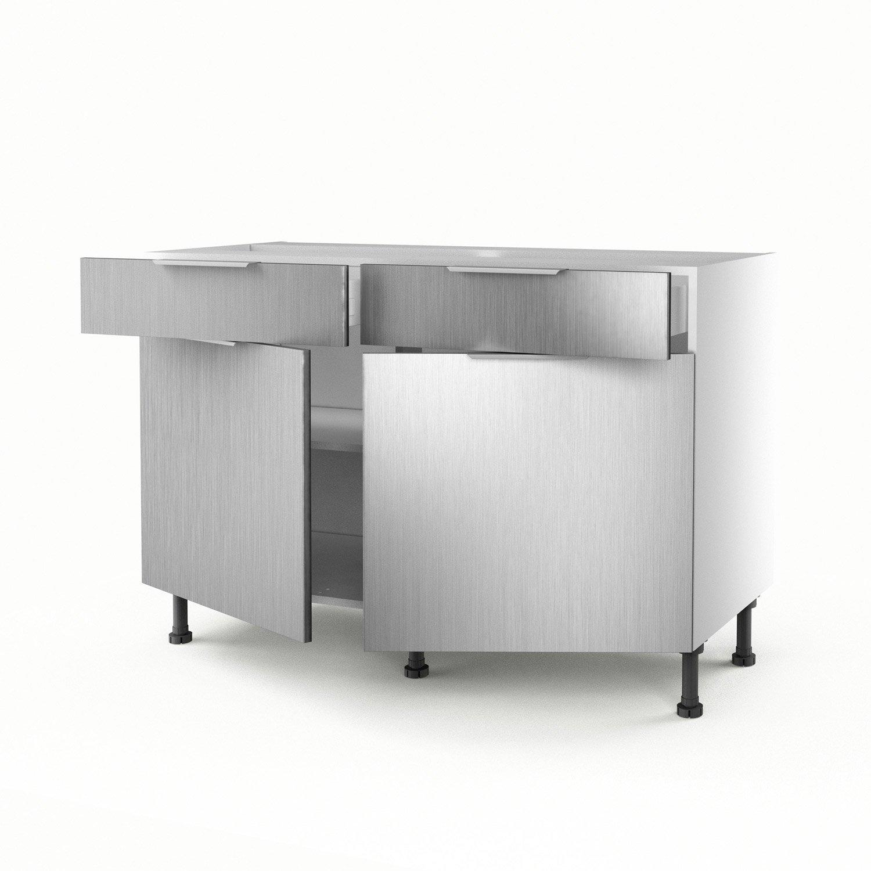 meuble de cuisine bas dcor aluminium 2 portes2 tiroirs stil h70xl120xp56cm leroy merlin