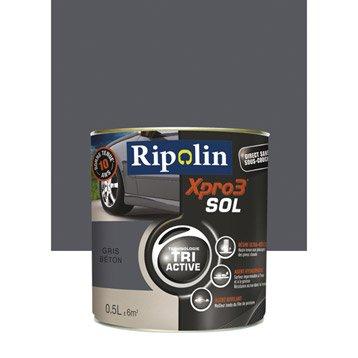 Peinture sol extérieur / intérieur Xpro 3 RIPOLIN, gris béton, 0.5 l