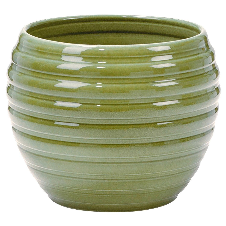 Cache pot terre cuite maill e scheurich x cm vert leroy merlin - Pot en terre cuite emaillee ...