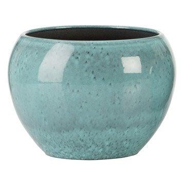 Cache pot rond carr couleur terre fibre plastique poterie d corative jardin leroy merlin - Pot en terre cuite emaillee ...