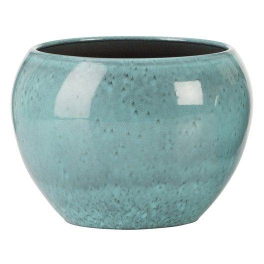 Cache pot terre cuite maill e scheurich x cm bleu leroy merlin - Pot en terre cuite emaillee ...