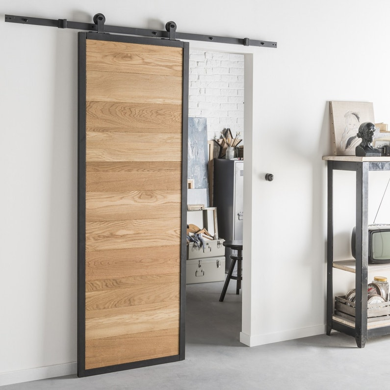 style industriel pour une porte coulissante en bois et alu. Black Bedroom Furniture Sets. Home Design Ideas