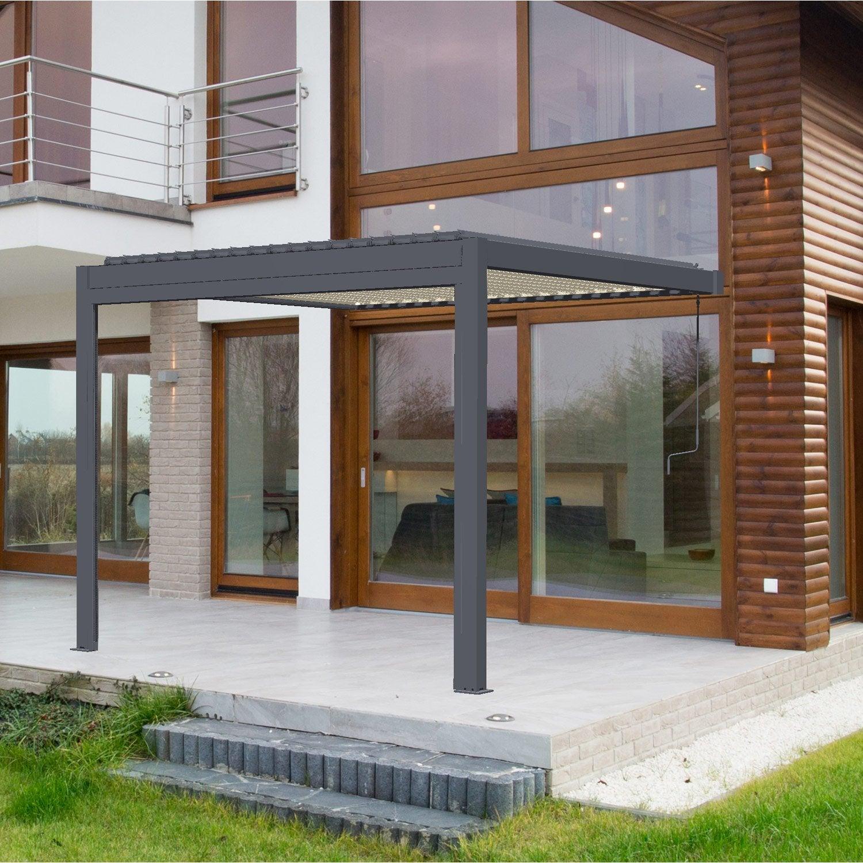 pergola adoss e cadix aluminium gris anthracite 9 m leroy merlin. Black Bedroom Furniture Sets. Home Design Ideas