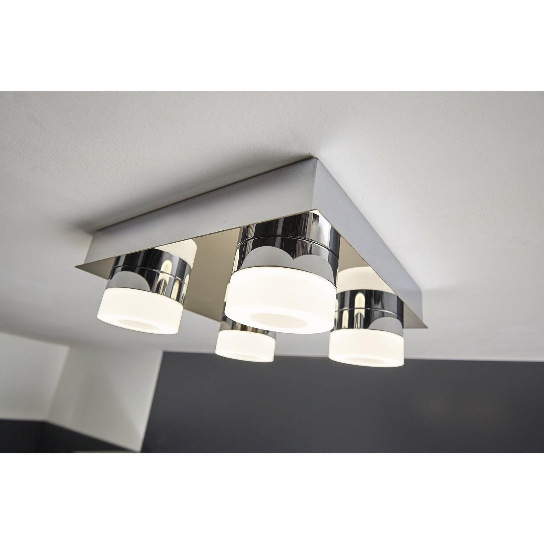 Plafonnier 4 spots design led intégrée Icaria Gris, 4 x 4 W INSPIRE ...