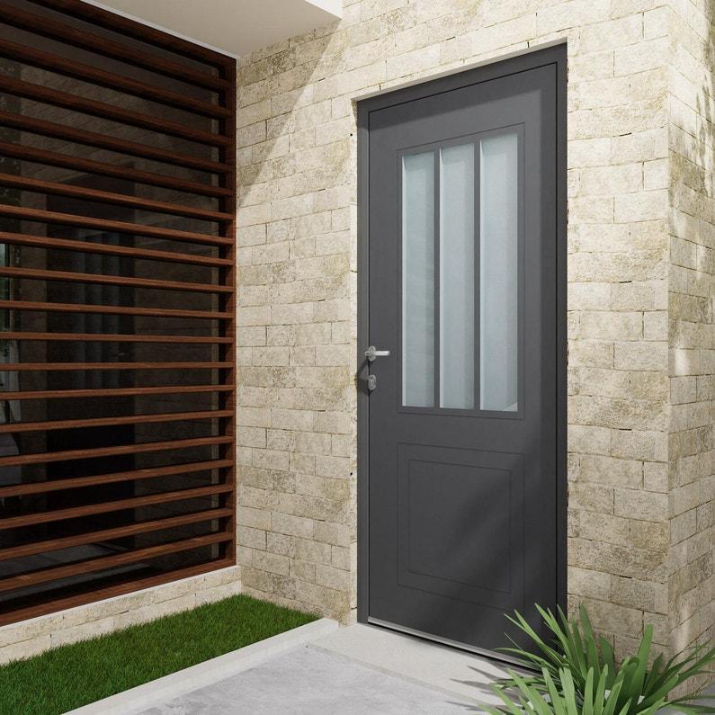 Porte Dentrée Alu Atelier Essentiel H215 X L90 Cm 12 Gris Anthr P Droit