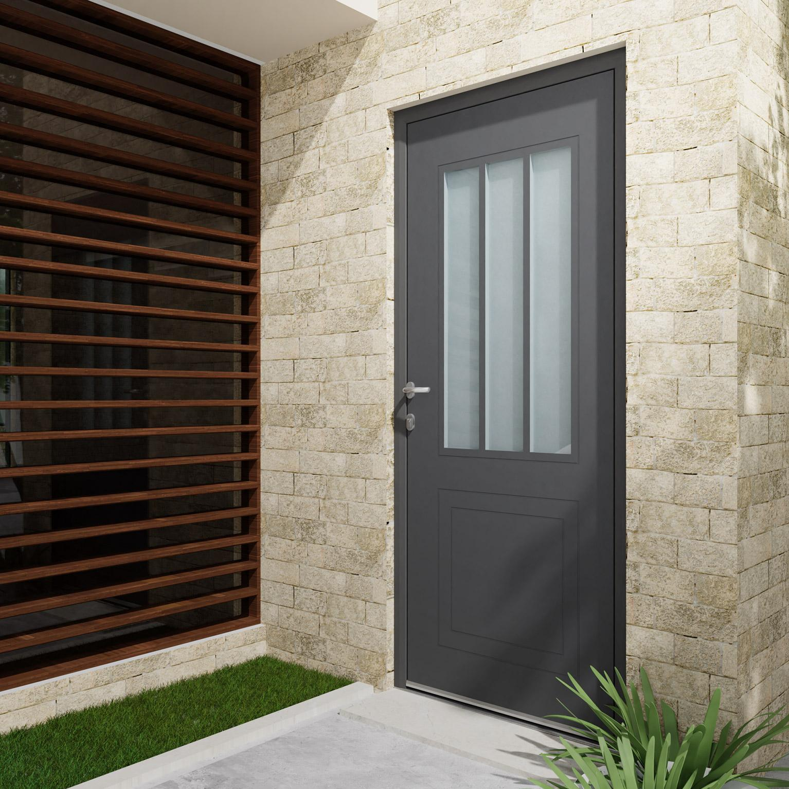 Couleur Porte Interieur Blanc Gris porte d'entrée alu atelier essentiel h.215 x l.90 cm 1/2 gris anthr., p.  droit