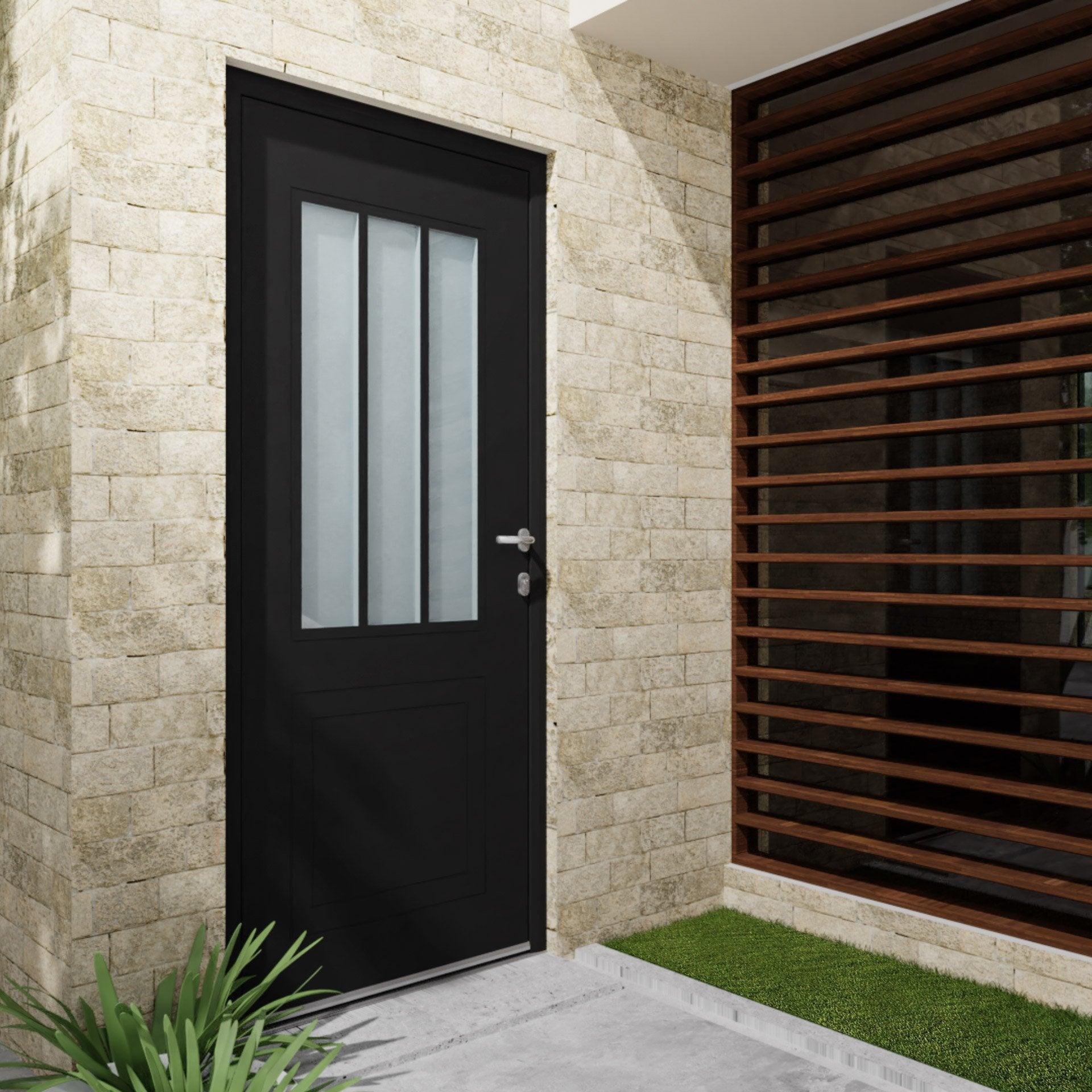 Porte Entree Vitree Opaque porte d'entrée alu atelier essentiel h.215 x l.90 cm vitrée noir, pous.  gauche
