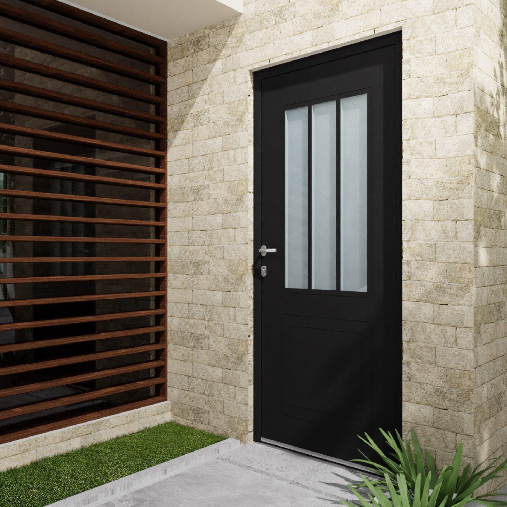 Fenetre Alu Noir Avis porte d'entrée alu atelier essentiel h.215 x l.90 cm vitrée noir, poussant  droit