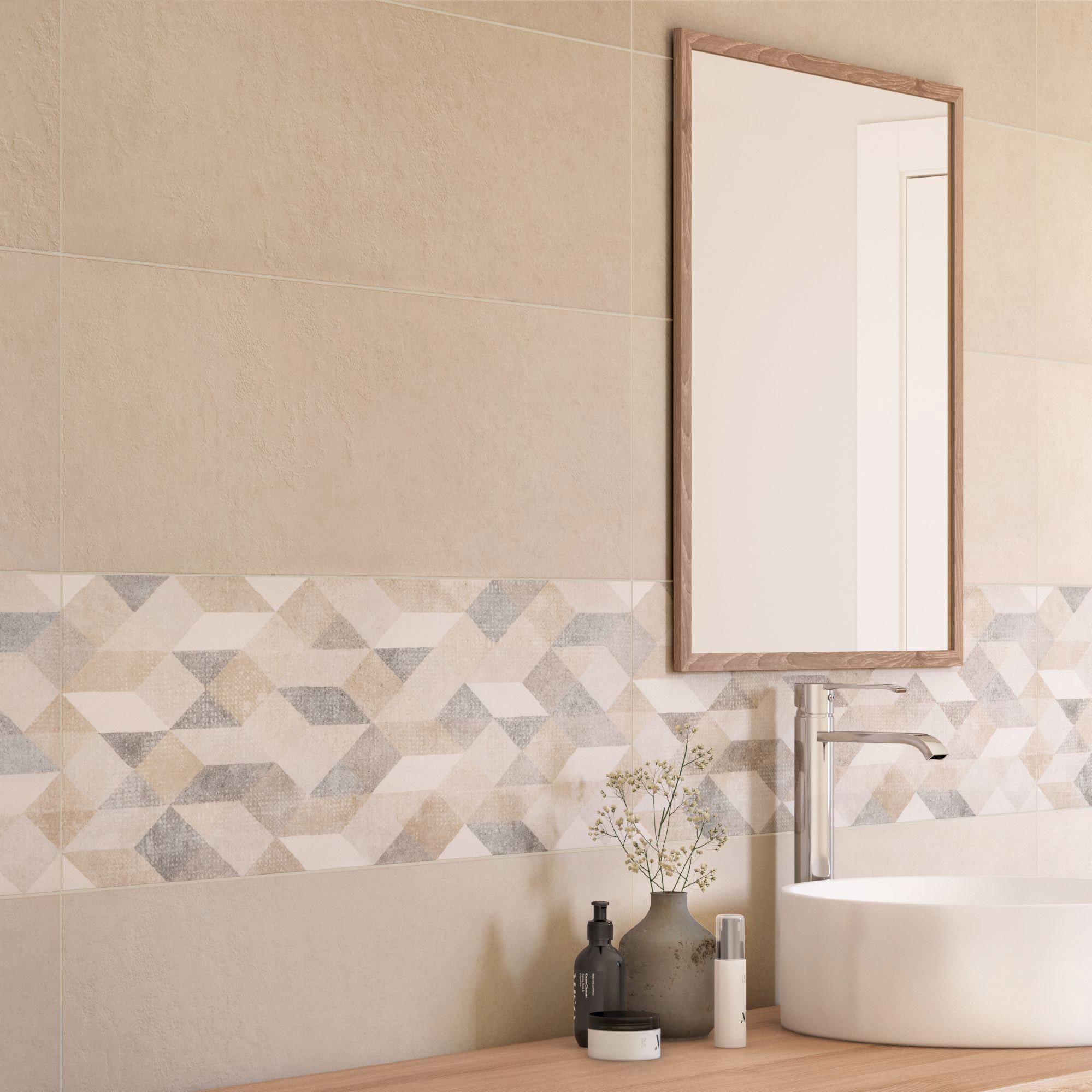 Faire Un Mur De Photos Décoration décor mur béton beige mat l.25 x l.76 cm, atelier origami for me marazzi  group