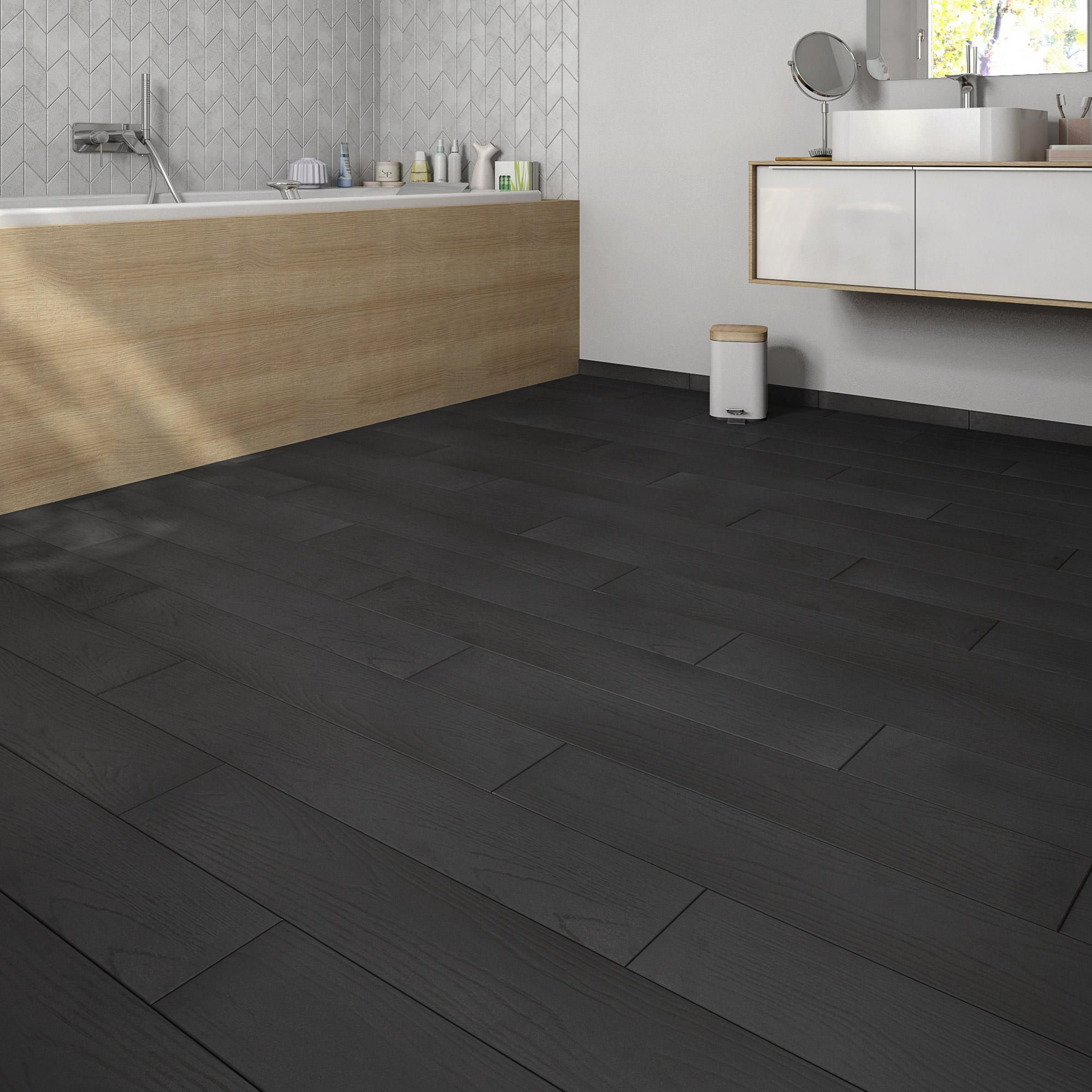 Carrelage sol et mur intenso bois noir Colorata l.15 x L.90 cm GRAND DESIR - SUP