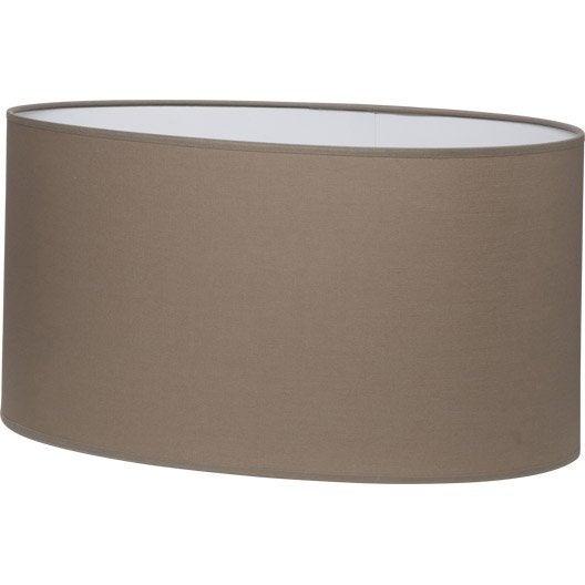 Abat jour ovale 46 cm coton brun taupe n 3 inspire leroy merlin - Abat jour suspension leroy merlin ...