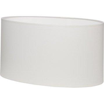Abat-jour Ovale, 46 cm, coton, blanc-blanc n°0 INSPIRE