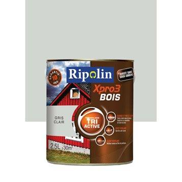Peinture bois extérieur / intérieur XPro3 RIPOLIN, satin gris clair, 2.5L