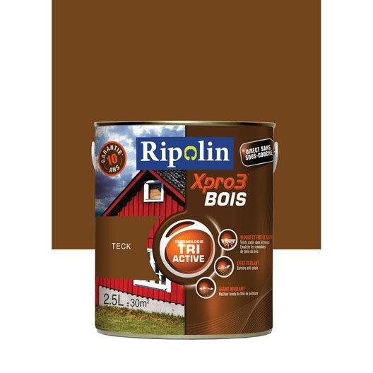 Peinture Bois Extérieur / Intérieur Xpro 3 Ripolin, Teck, 2.5 L