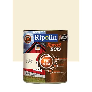 Peinture bois extérieur / intérieur Xpro 3 RIPOLIN, blanc cassé, 2.5 l