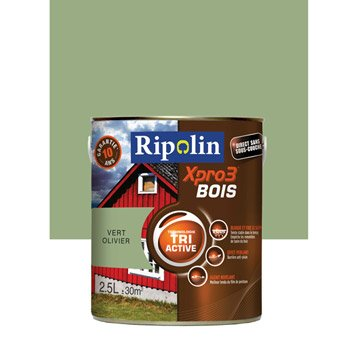 Peinture bois extérieur / intérieur XPro3 RIPOLIN, satin vert olivier, 2.5L