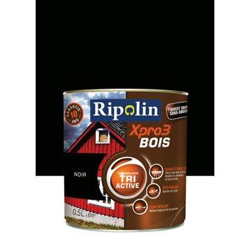 Peinture bois extérieur / intérieur XPro3 RIPOLIN, satin noir, 0.5L