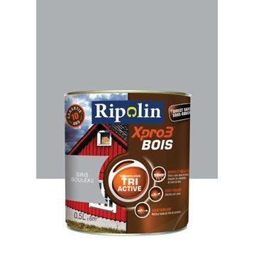 Peinture bois extérieur / intérieur XPro3 RIPOLIN, satin gris bouleau, 0.5L