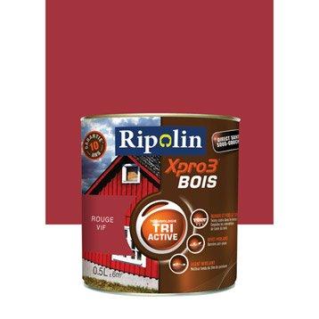 Peinture bois extérieur / intérieur XPro3 RIPOLIN, satin rouge vif, 0.5L