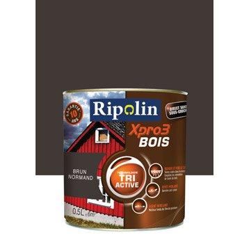 Peinture bois extérieur / intérieur XPro3 RIPOLIN, satin brun normand, 0.5L