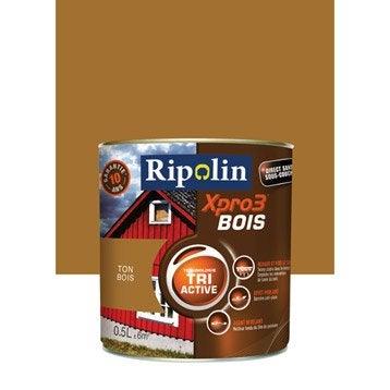 Peinture bois extérieur / intérieur XPro3 RIPOLIN, satin ton bois, 0.5L