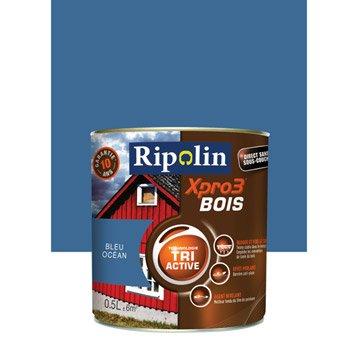 Peinture bois extérieur / intérieur XPro3 RIPOLIN, satin bleu océan, 0.5L