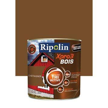 Peinture bois extérieur / intérieur XPro3 RIPOLIN, satin châtaigner, 0.5L