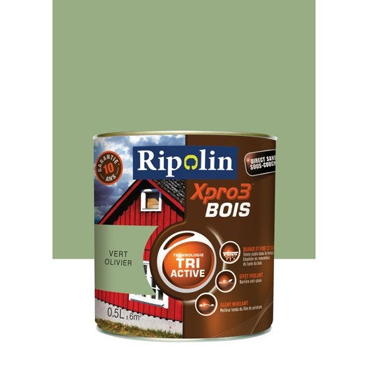 Peinture bois ext rieur int rieur xpro 3 ripolin vert olivier 0 5 l leroy merlin for Peinture meuble bois leroy merlin