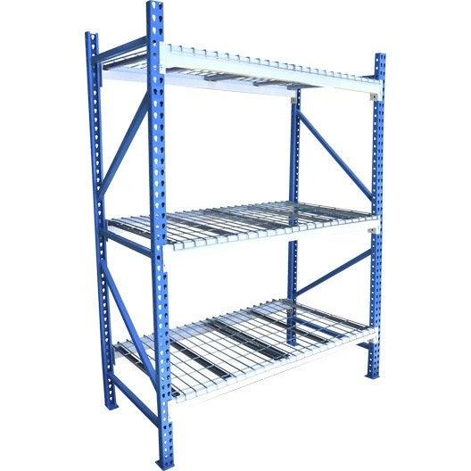 Etag re rack cime en acier poxy bleu et blanc 3 tablettes l120xh180xp60 cm - Leroy merlin etagere ...