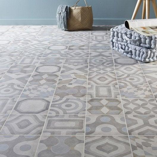 Carrelage sol et mur ivoire effet ciment arlequin x l for Moquette motif parquet