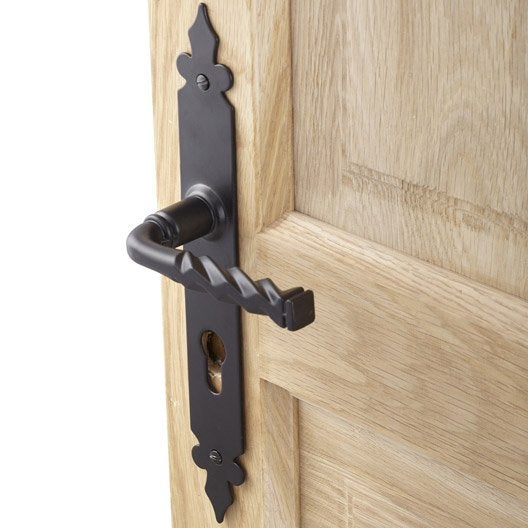 2 poign es de porte trou de cylindre acier forg 195 mm - Poignee de porte interieure ancienne ...