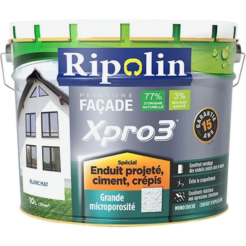 Peinture Façade Surface Structurée Xpro3 Ripolin, Blanc, 10 L