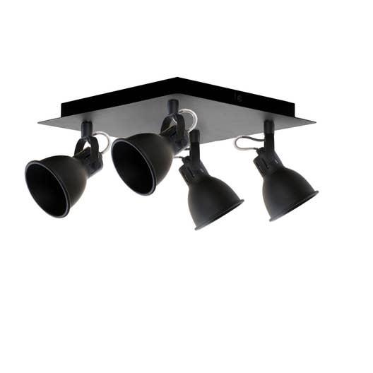 plafonnier 4 spots nomade 4 xgu10 noir seynave leroy merlin. Black Bedroom Furniture Sets. Home Design Ideas