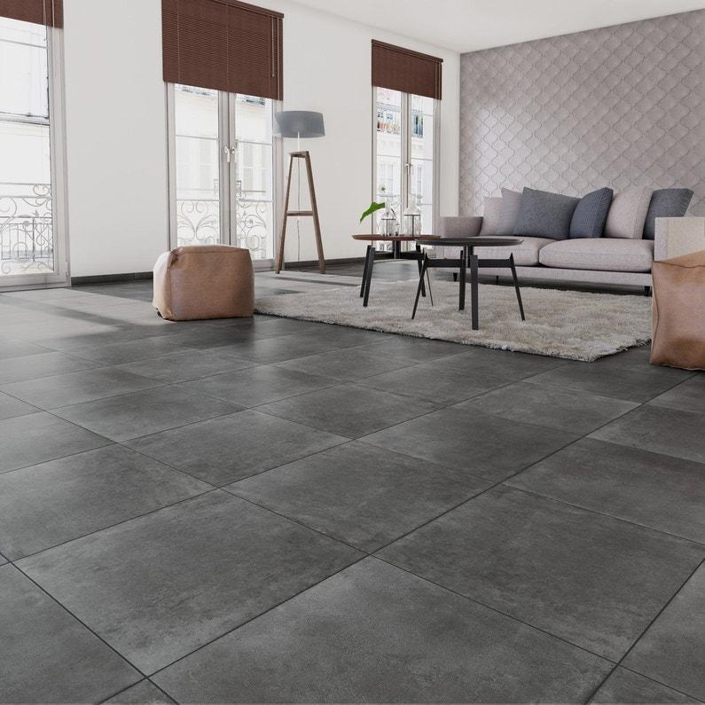 carrelage sol et mur forte béton gris foncé laiton l.60.4 x l.60.4