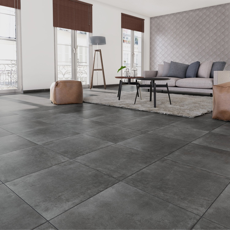 Mur Couleur Gris Beton carrelage sol et mur forte effet béton gris foncé laiton l.60.4 x l.60.4 cm