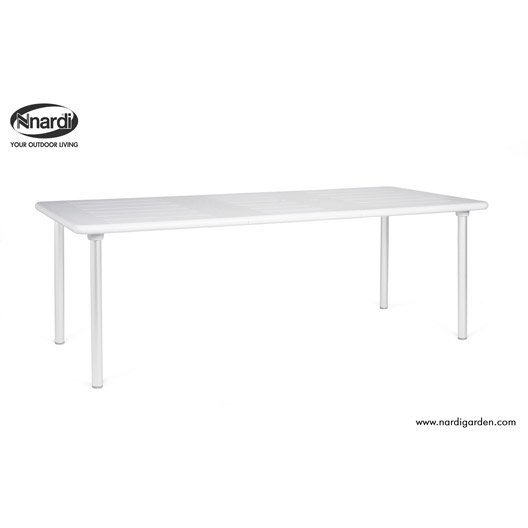 Table de jardin nardi maestrale rectangulaire blanc et for Tube rectangulaire alu leroy merlin