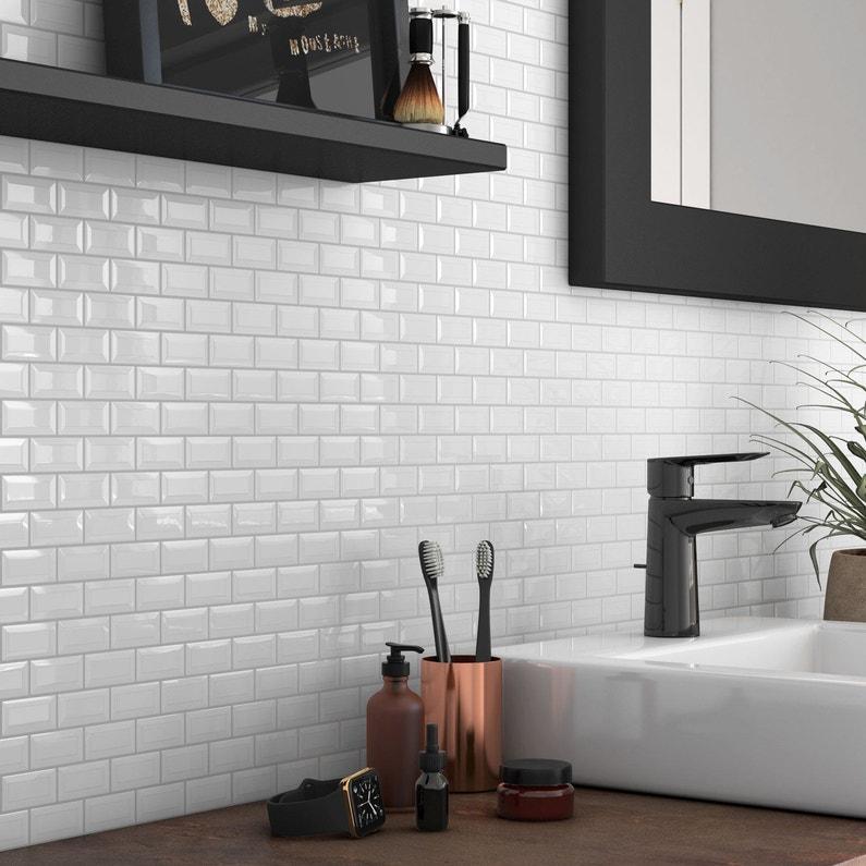Mosaïque mur Mini metro blanc 4.8 x 2.3 cm | Leroy Merlin
