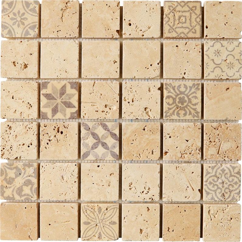 Mosaïque sol et mur Travertin décor beige 4.8 x 4.8 cm | Leroy Merlin