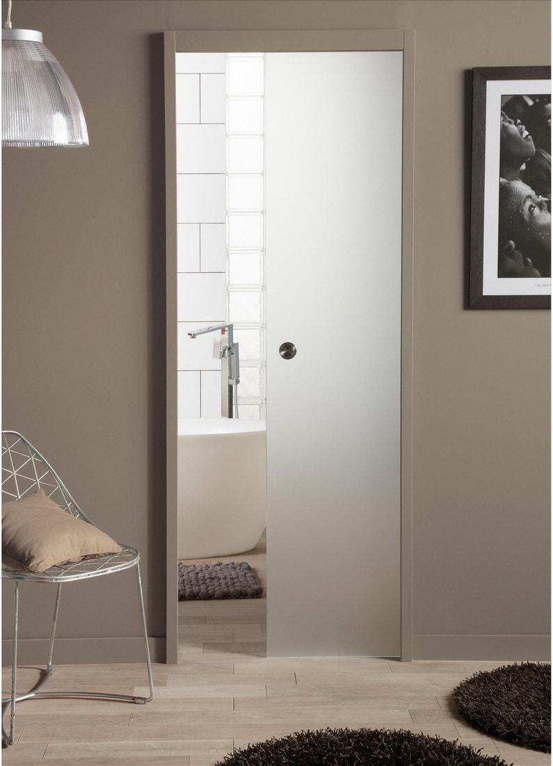 Porte Entree Vitree Opaque porte coulissante verre vitrée orlando, h.204 x l.73 cm