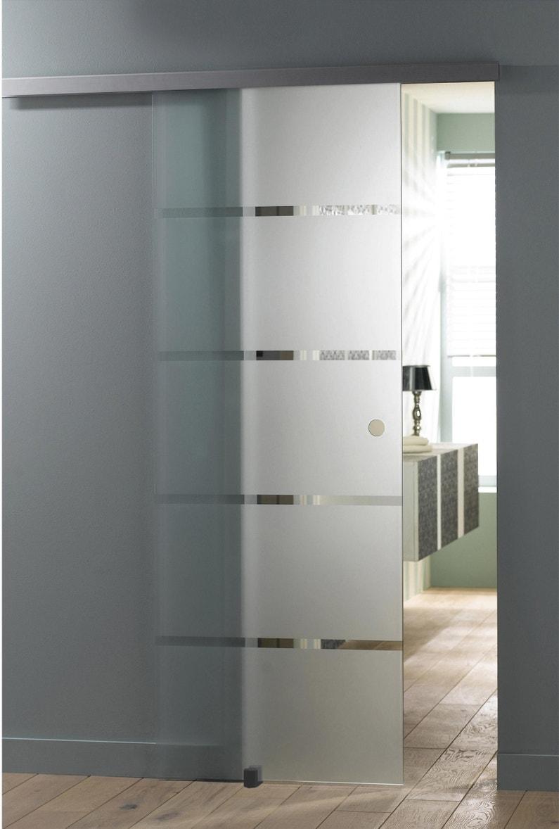 Portes Coulissantes Vitrées Intérieures porte coulissante verre vitrée miami, h.204 x l.73 cm