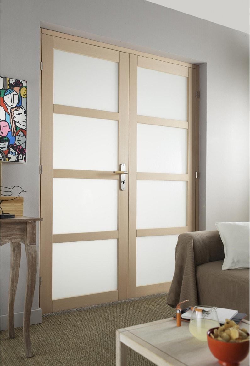 Porte De Chambre Avec Vitre double porte bois hêtre vitré nova h.204 x l.146 cm, poussant gauche