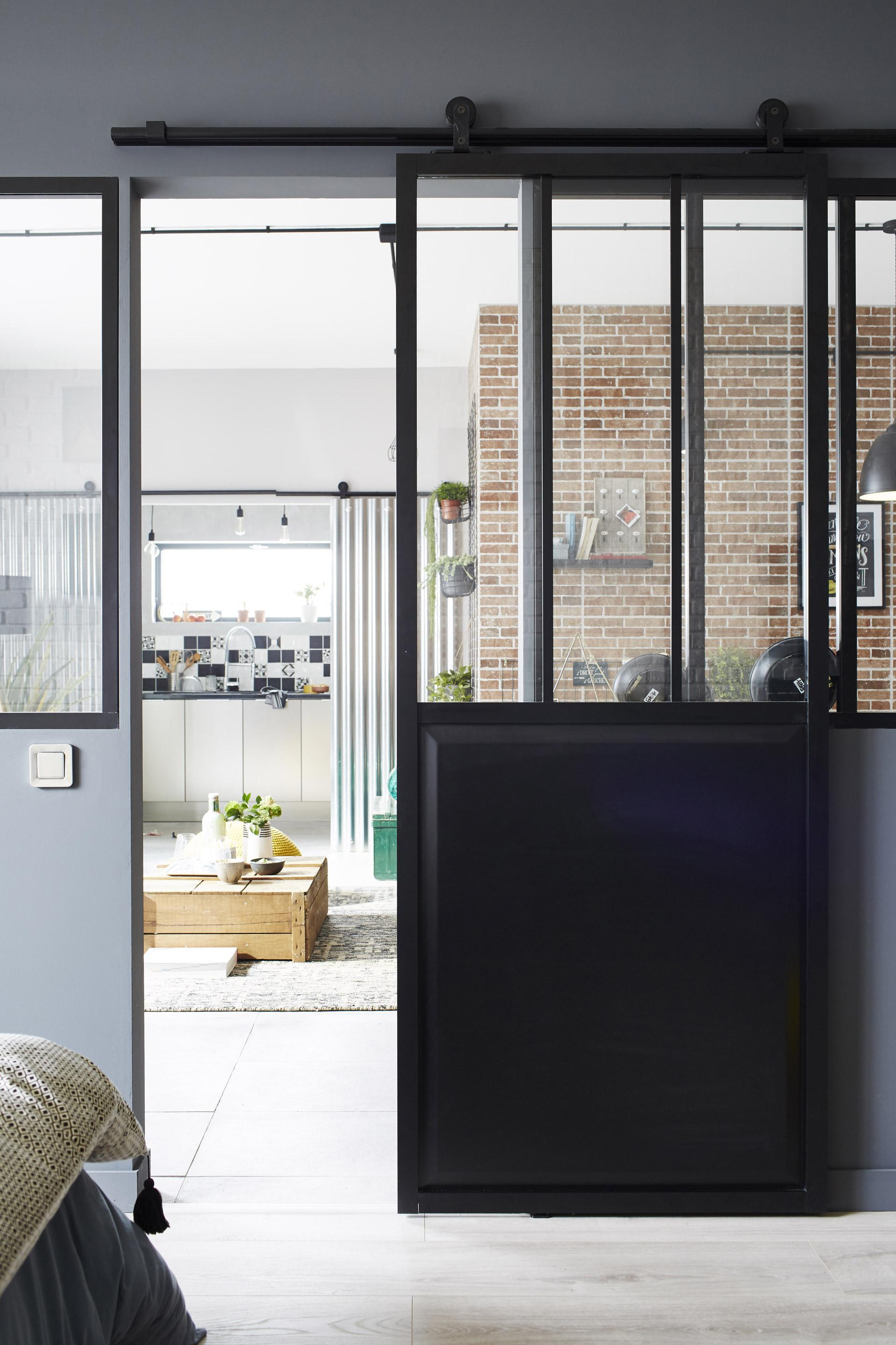 Porte coulissante atelier vitrée Atelier noir, H.204 x l.83 cm