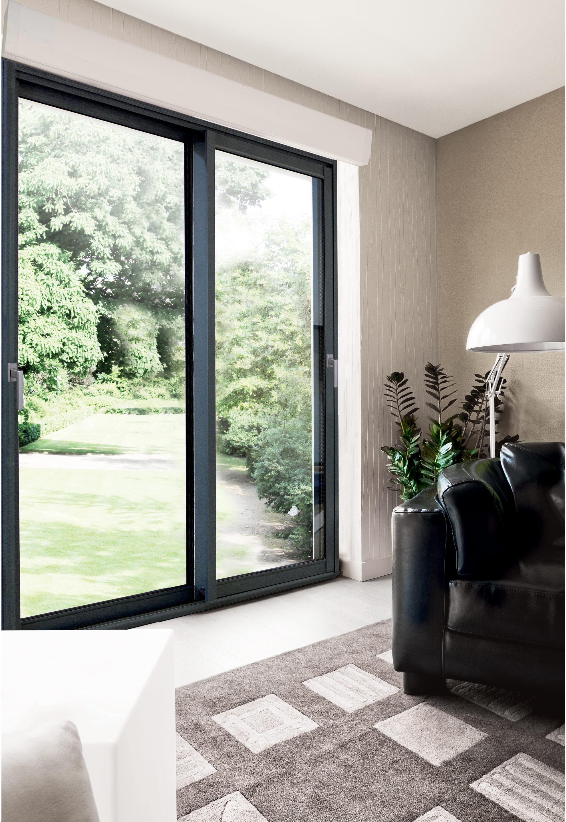 Baie vitrée aluminium avec volet roulant Brico Premium, H.215 x l.240 cm, gris