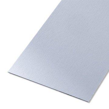 Tôle lisse aluminium anodisé, L.100 x l.20 cm x Ep.0.5 mm
