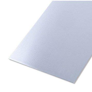 Tôle lisse aluminium brut, L.100 x l.12 cm x Ep.0.8 mm
