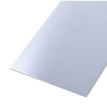 Tôle lisse aluminium brut, L.100 x l.20 cm x Ep.0.8 mm