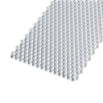 Tôle perforée acier brut, L.50 x l.25 cm x Ep.2.8 mm